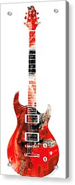Electric Guitar - Buy Colorful Abstract Musical Instrument Acrylic Print by Sharon Cummings