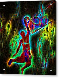 Electric Slam Dunk Basketball Acrylic Print by Dan Sproul