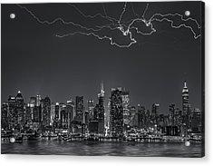 Electrifying New York City Bw Acrylic Print by Susan Candelario