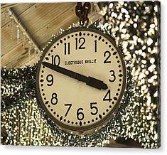 Electrique Brillie Clock In Chelsea Market Acrylic Print by Rona Black