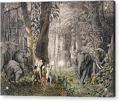 Elephant Hunt In The Region Of Logalla Acrylic Print by Graf Emanuel Andrasy