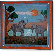 Elephant Paradise  Acrylic Print by Yvonne  Kroupa