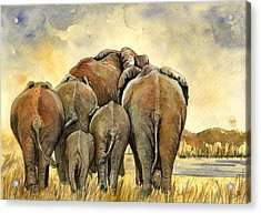 Elephants Herd Acrylic Print by Juan  Bosco