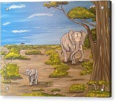 Elephants Acrylic Print by Scott Wilmot