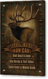 Elk Man Cave Sign Acrylic Print by JQ Licensing