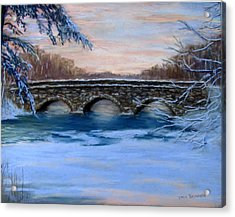 Elm Street Bridge On A Winter's Morn Acrylic Print by Jack Skinner
