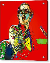 Elton In Red Acrylic Print by John Farr