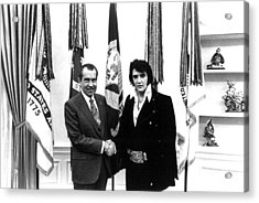 Elvis Presley And President Nixon Acrylic Print by Retro Images Archive