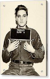 Elvis Presley - Mugshot Acrylic Print by Bill Cannon
