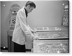 Elvis Presley Playing Pinball 1956 Acrylic Print by The Harrington Collection