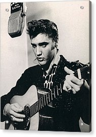 Elvis Presley Plays And Sings Into Old Microphone Acrylic Print by Retro Images Archive