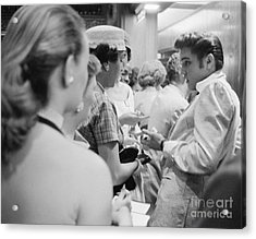 Elvis Presley Signing Autographs At The Fox Theater 1956 Acrylic Print by The Phillip Harrington Collection