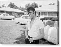Elvis Presley With His Cadillacs Acrylic Print by The Harrington Collection