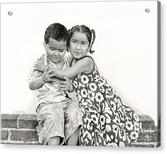 Embracing Friendship Acrylic Print by Sarah Batalka