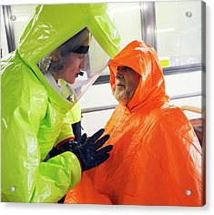 Emergency Response Worker And Casualty Acrylic Print by Public Health England