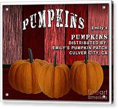 Emilys Pumpkin Patch Acrylic Print by Marvin Blaine