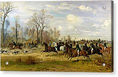 Emperor Franz Joseph I Of Austria Hunting To Hounds With The Countess Larisch In Silesia Acrylic Print by Emil Adam