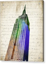 Empire State Building Acrylic Print by Aged Pixel