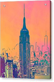 Empire State Building Pop Art Acrylic Print by Dan Sproul