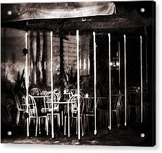 Empty Chairs And Empty Tables - Soft Sepia Vintage Acrylic Print by Georgiana Romanovna