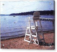 Empty Lake Empty Beach Summer's Out Of Reach  Williams Bay  Wi Acrylic Print by Jane Butera Borgardt