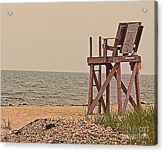 Empty Lifeguard Chair Acrylic Print by Rita Brown