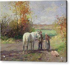 Encounter On The Way To The Field, 1897 Oil On Panel Acrylic Print by Thomas Ludwig Herbst
