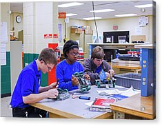 Engineering Academy Robotics Students Acrylic Print by Jim West