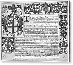 England Trade Charter Acrylic Print by Granger