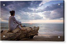 Enjoing The Sunset Acrylic Print by Aged Pixel