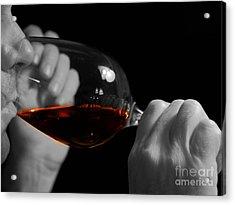 Enjoying Wine Acrylic Print by Patricia Hofmeester