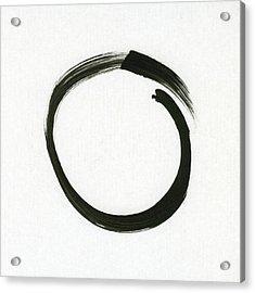 Enso #1 - Zen Circle Minimalistic Black And White Acrylic Print by Marianna Mills