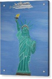 Enterprise On Statue Of Liberty Acrylic Print by Vandna Mehta
