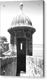 Entrance To Sentry Tower Castillo San Felipe Del Morro Fortress San Juan Puerto Rico Bw Film Grain Acrylic Print by Shawn O'Brien