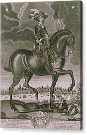 Equestrian Portrait Of Oliver Cromwell  Acrylic Print by Albert Haelwegh