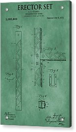 Erector Set Patent Green Acrylic Print by Dan Sproul