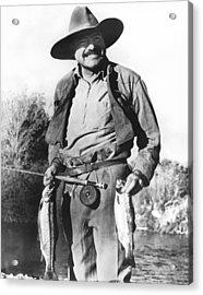 Ernest Hemingway Fishing Acrylic Print by Underwood Archives