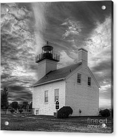Esacanaba Lighthouse In Black And White Acrylic Print by Twenty Two North Photography