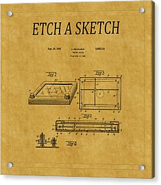 Etch A Sketch Patent 1 Acrylic Print by Andrew Fare