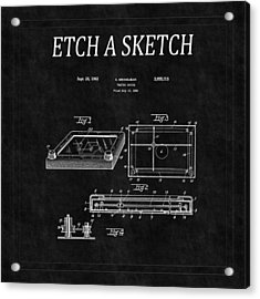 Etch A Sketch Patent 2 Acrylic Print by Andrew Fare