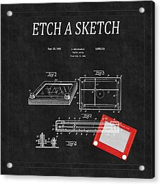 Etch A Sketch Patent 3 Acrylic Print by Andrew Fare
