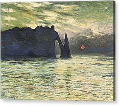 Etretat Sunset Acrylic Print by Claude Monet