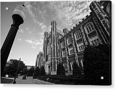 Evans Hall In Black And White Acrylic Print by Nathan Hillis
