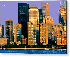 Evening Falls On The Battery Nyc Acrylic Print by Linda  Parker