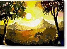Evening Gold Acrylic Print by Anthony Mwangi