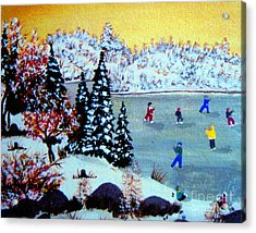 Evening Skating Acrylic Print by Barbara Griffin
