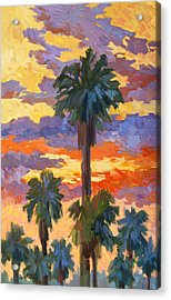 Evening Sunset And Palms Acrylic Print by Diane McClary