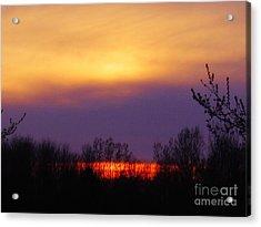 Evening Sunset Lake Acrylic Print by Judy Via-Wolff