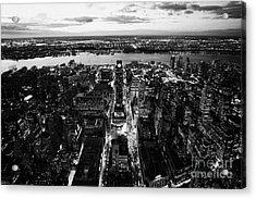 Evening View Of Manhattan West Towards Hudson River And One Penn Plaza Night New York City Acrylic Print by Joe Fox