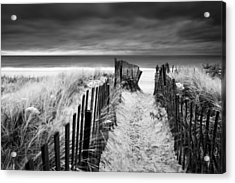 Evening Wave Check Bw Acrylic Print by Ryan Moore